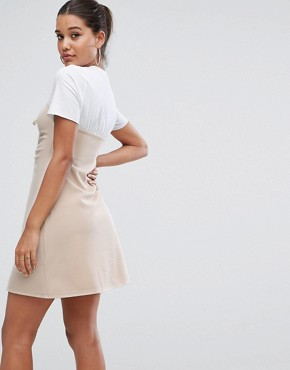 photo Mini Dress with Ruched Bodice by ASOS, color Nude - Image 2