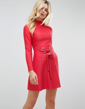 photo Rib Mini Skater Dress with High Neck and Corset Waist by ASOS PREMIUM, color Red - Image 1