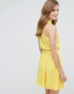 photo Wrap Front Belted Textured Midi Dress by Lavand, color Yellow - Image 2