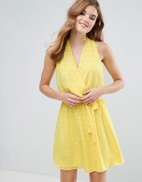 photo Wrap Front Belted Textured Midi Dress by Lavand, color Yellow - Image 1