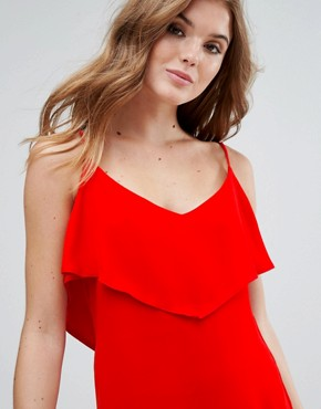 photo Cami Dress with Frill Overlay by Lavand, color Red - Image 3