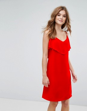 photo Cami Dress with Frill Overlay by Lavand, color Red - Image 1