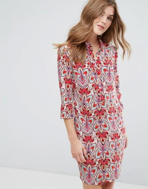 photo 3/4 Sleeve Printed Shift Dress by Lavand, color Red - Image 1