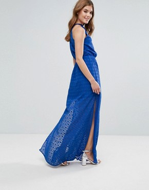 photo Halterneck Pleated Maxi Dress by Lavand, color Blue - Image 2