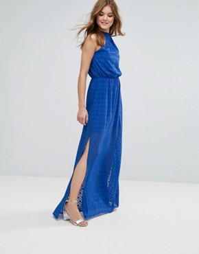 photo Halterneck Pleated Maxi Dress by Lavand, color Blue - Image 1