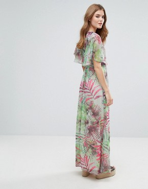 photo Kimono Sleeve Maxi Dress in Palm Print by Lavand, color Green - Image 2