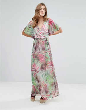 photo Kimono Sleeve Maxi Dress in Palm Print by Lavand, color Green - Image 1
