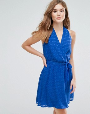 photo Wrap Front Belted Textured Midi Dress by Lavand, color Blue - Image 1