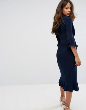 photo Wrap Front Midi Dress with Frill Detail by ASOS TALL, color Navy - Image 2