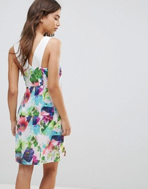 photo Floral Contrast Shoulder Dress by Lavand, color Multi - Image 2