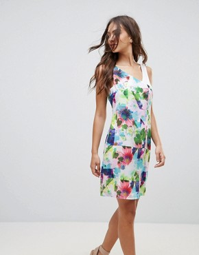 photo Floral Contrast Shoulder Dress by Lavand, color Multi - Image 1