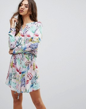 photo Palm Print Shirt Dress by Lavand, color Multi - Image 1