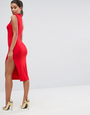 photo Shoulder Pad Asymmetric Bodycon Midi Dress by ASOS, color Red - Image 2