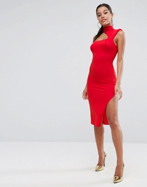 photo Shoulder Pad Asymmetric Bodycon Midi Dress by ASOS, color Red - Image 1