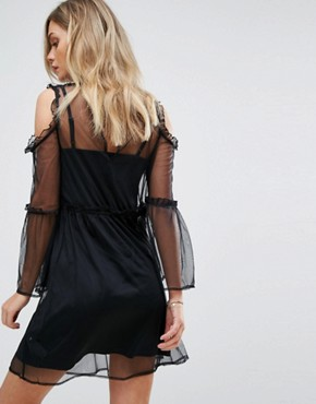 photo Embroidered Mesh Dress by Miss Selfridge, color Black - Image 2