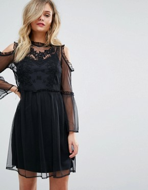 photo Embroidered Mesh Dress by Miss Selfridge, color Black - Image 1