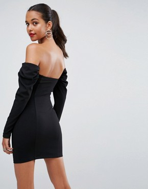 photo Ruched 80's Long Sleeve Bardot Mini Dress by ASOS, color Black - Image 2