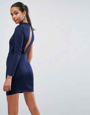 photo One shoulder Long Sleeve Cut Out Front Mini Dress by ASOS, color Navy - Image 2