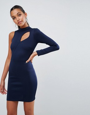 photo One shoulder Long Sleeve Cut Out Front Mini Dress by ASOS, color Navy - Image 1