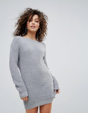 photo Slash Neck Knit Jumper Dress by Lasula, color Grey - Image 1