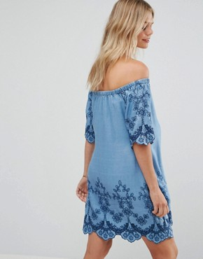 photo Embroidered Off Shoulder Dress by New Look Maternity, color Blue - Image 2