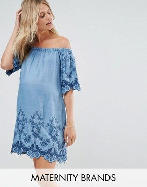 photo Embroidered Off Shoulder Dress by New Look Maternity, color Blue - Image 1