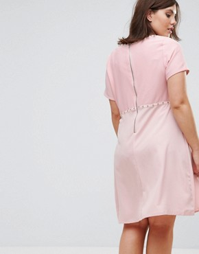 photo Studded Embroidered Dress by New Look Plus, color Pink - Image 2