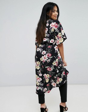 photo Floral Kimono Dress by New Look Plus, color Black Pattern - Image 2