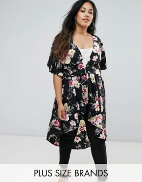 photo Floral Kimono Dress by New Look Plus, color Black Pattern - Image 1