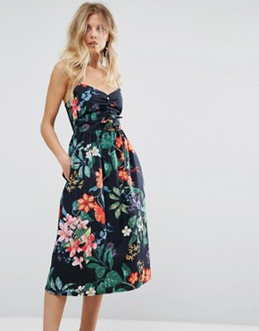 photo Tropical Print Tie Front Dress by Mango, color Tropical Print - Image 1