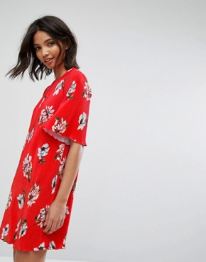 photo Floral Flute Sleeve Dress by Mango, color Red - Image 1