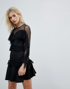 photo Ruffle Dobby Tiered Skater Mini Dress by ASOS, color Black - Image 1