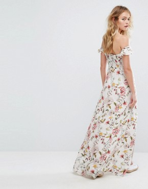 photo Floral Printed Split From Maxi Dress by Bershka, color White - Image 2