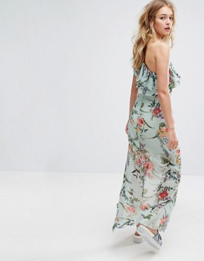 photo Floral Printed One Shoulder Midi Dress by Bershka, color Blue - Image 1