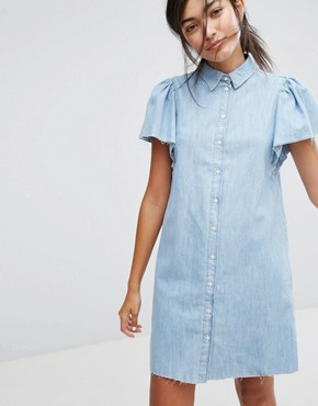 photo Button Front Denim Dress by Bershka, color Blue - Image 1