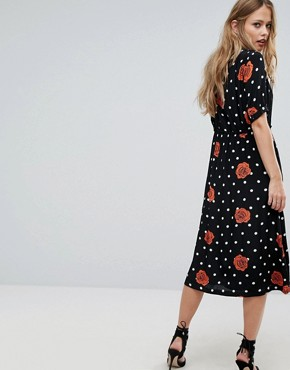 photo Polka Dot and Floral Button Through Dress by Diesel, color Black - Image 2