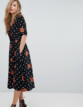 photo Polka Dot and Floral Button Through Dress by Diesel, color Black - Image 1