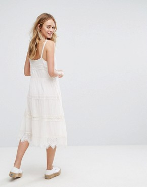 photo Crochet Button Up Midi Dress by Bershka, color Cream - Image 2