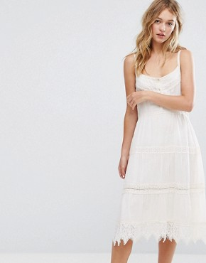 photo Crochet Button Up Midi Dress by Bershka, color Cream - Image 1