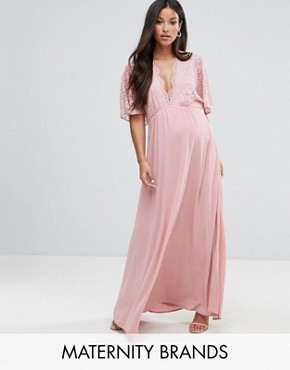 photo Lace Kimono Maxi Dress by Queen Bee Maternity, color Pink - Image 1
