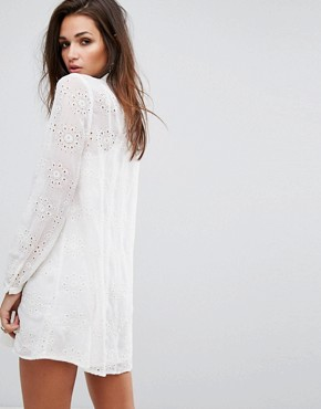 photo Relaxed Smock Dress in Sheer Fabric with Chain Tassel Ties by Religion, color Winter White - Image 2