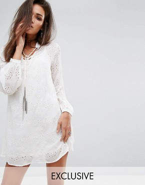 photo Relaxed Smock Dress in Sheer Fabric with Chain Tassel Ties by Religion, color Winter White - Image 1