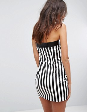 photo Faux Leather Dress with Zip Up in Stripe by Jaded London Festival, color Black - Image 2
