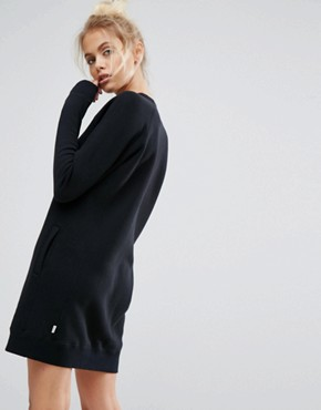 photo Core Sweatshirt Dress in Black by Converse, color Black - Image 2