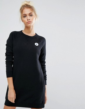 photo Core Sweatshirt Dress in Black by Converse, color Black - Image 1