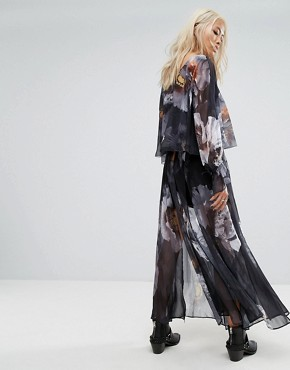 photo Layered Maxi Dress with Tie Sleeves in Dark Floral by Religion, color Multi - Image 2