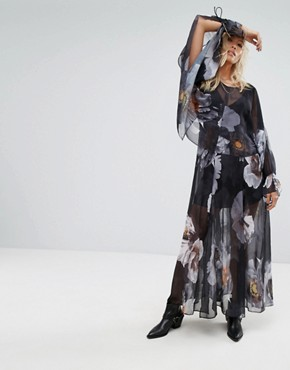 photo Layered Maxi Dress with Tie Sleeves in Dark Floral by Religion, color Multi - Image 1