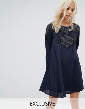 photo Smock Dress with Scoop Tie Back and Beaded Embellishment by Religion, color Blue - Image 1