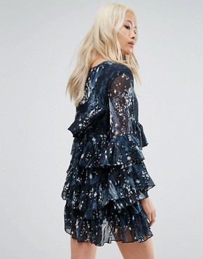 photo Tiered Smock Dress in Celestial Print by Religion, color Blue - Image 2