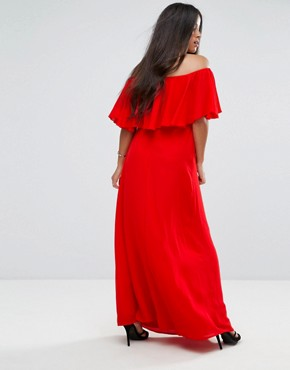 photo Off Shoulder Ruffle Maxi Dress by Queen Bee Maternity, color Red - Image 2